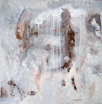 Acrylmalerei, Wintertag, Grau, Braun