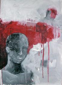 Menschen, Weiß, Grau, Rot schwarz