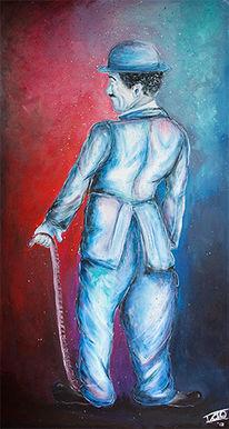 Acrylmalerei, Blau, Schauspieler, Rot