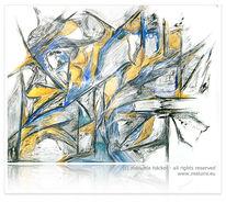 Abstrakt, Blau, Eu, Ocker