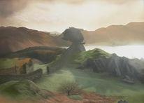 Schottisch, Landschaft, Highlands, Malerei