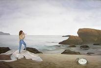 Landschaft, Drache, Meer, Malerei