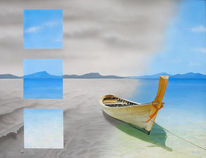 Meer, Boot, Malerei, Schatten