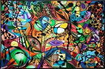 Abstrakt, Schmetterling, Acrylmalerei, Malerei