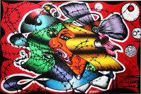 Frau, Acrylmalerei, Stacheldraht, Malerei