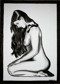 Schwarzweiß, Stille, Figural, Acrylmalerei
