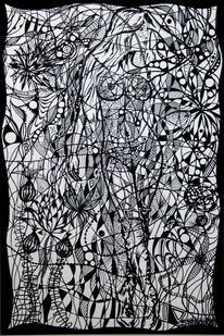 Suchbild, Acrylmalerei, Schwarzweiß, Frau