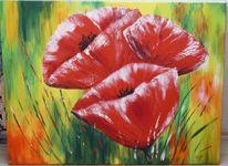 Stillleben, Acrylmalerei, Malerei, Mohnblumen