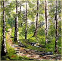 Waldweg, Ölmalerei, Gras, Baum