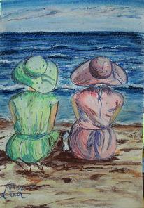 Meer, Frau, Freundin, Sand
