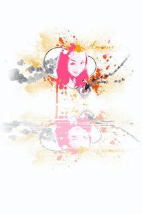 Mädchen, Herz, Photoshop, Spiegelung
