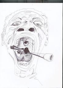 Fresse, Krieg, Kopf, Kugelschreiber
