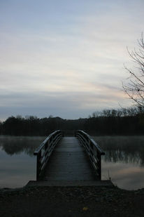 Früh, Brücke, Himmel, Wasser