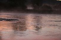 Nebel, Sonnenaufgang, Böschung, Fluss