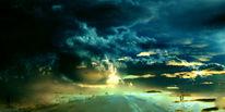 Wiese, Wind, Wolken, Himmel