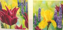 Lupinen, Tulpen, Frühling, Ölmalerei