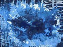 Matrix, Unendlichkeit abstrakte kunst, Blaue welt, Malerei