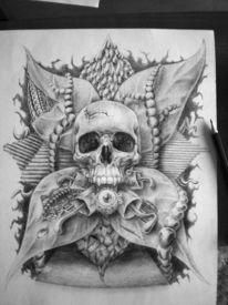 Schwarz weiß, Schädel, Surreal, Zeichnungen