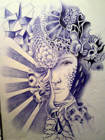 Portrait, Surreal, Frau, Gesicht