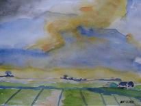 Aquarellmalerei, Gewitter, Landschaft, Himmel
