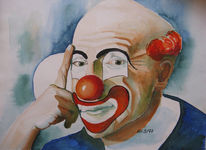 Portrait, Clown, Aquarellmalerei, Malerei