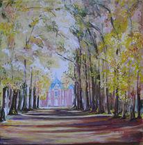 November, Schloss, Gelb, Sonne