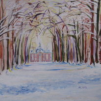 Allee, Barock, Schloss, Winter