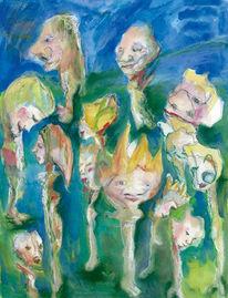 Puppenspiel, Kasperkopf, Blau, Grün