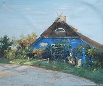 Haus, Hiddensee, Blau, Malerei