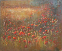 Mohnfeld, Morgen, Blumen, Malerei