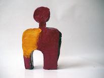 Acrylmalerei, Rot, Figur, Gelb
