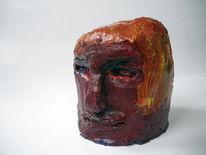 Figur, Acrylmalerei, Rot, Kopf