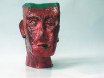 Acrylmalerei, Rot, Figur, Kopf