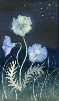 Blumen, Nacht, Popies, Malerei