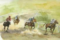 Pferde, Wettkampf, Malerei