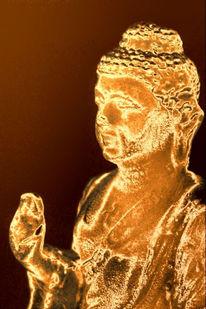 Figur, Gold, Buddha, Fotografie