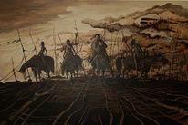 Frau, Pferde, Acrylmalerei, Düster