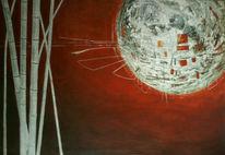 Weiß, Bambus, Mond, Rot