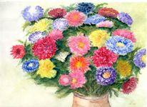 Astern, Farben, Srauß, Vase
