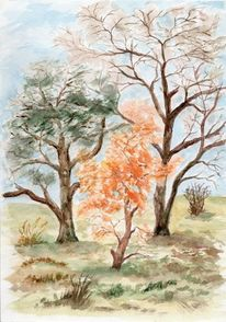 Winter, Baum, Garten, Aquarell