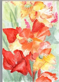 Ausschnitt, Gladiolen, Farben, Aquarell
