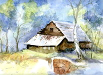 Schnee, Altes haus, Wald, Aquarell