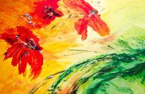 Acrylmalerei, Struktur, Rot, Blumen