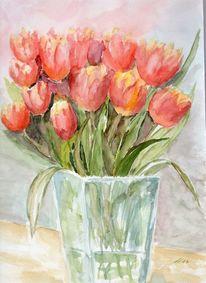 Rot, Tulpenstrauß, Vase, Frühlinf