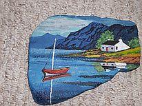 Küste, Meer, Schottland, Malerei
