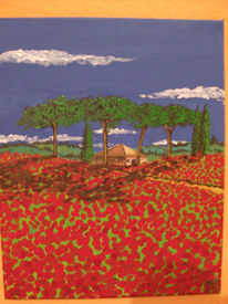 Malerei, Mohnfeld, Toskana
