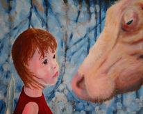 Kind, Kuh, Malerei, Tiere