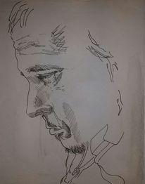 Gesicht, Mann, Tuschmalerei, Portrait