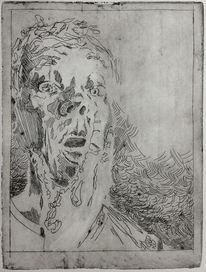 Mann, Portrait, Radierung, Druckgrafik