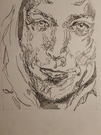 Tuschmalerei, Zeichnung, Portrait, Mann